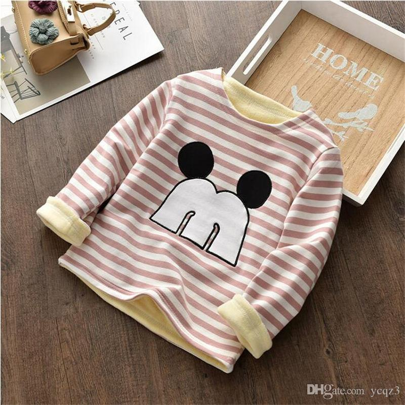 2ea6eccc8 BibiCola 2019 Plus Velvet Outfits Cartoon Girl Long Sleeve Striped Kids  Girls Toddler Clothes Winter Tops Sweater for Girls Online with  $22.62/Piece on ...