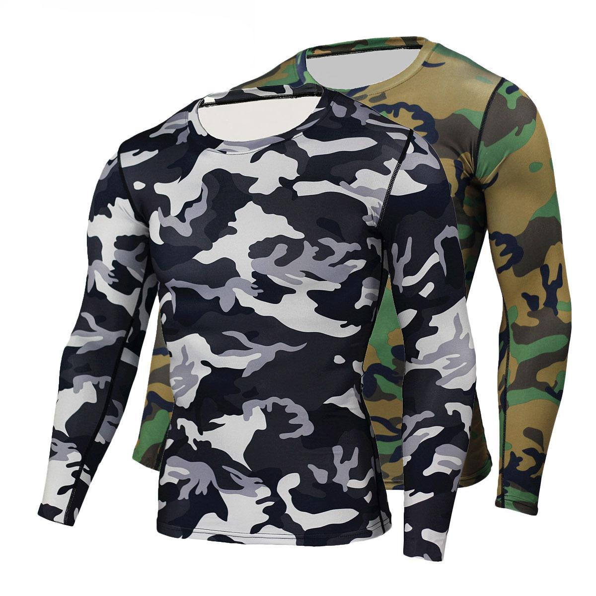 25d5811d4 New High Quality Camouflage Military Compression T Shirt Tights Fitness Men  Quick Dry Camo Long Sleeve T Shirts Crossfit Shirts Make Your Own Tee Shirt  ...