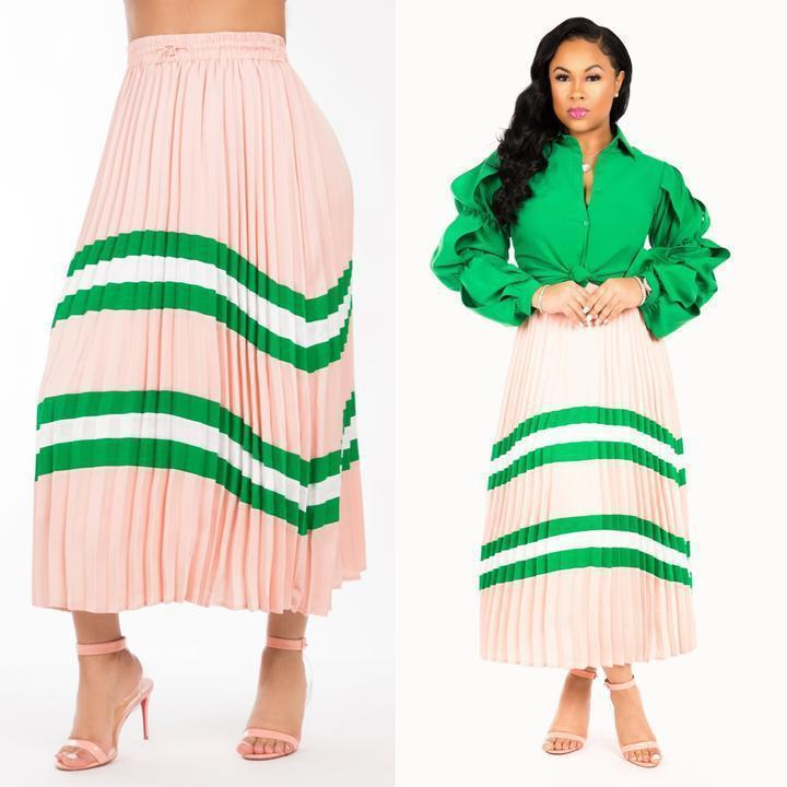 LD8313 manufacturers real shot European and American women's fashion  high-end explosion models hot explosions pleated skirt