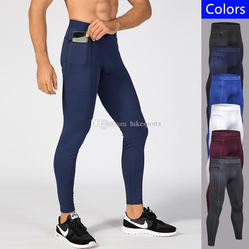 992ffa989ce657 2019 Mens Zipper Side Pockets Sport Pants Compression Tights Running  Leggings Jogging Pant Fitness Sportswear Quick Dry Training Sports Trousers  From ...