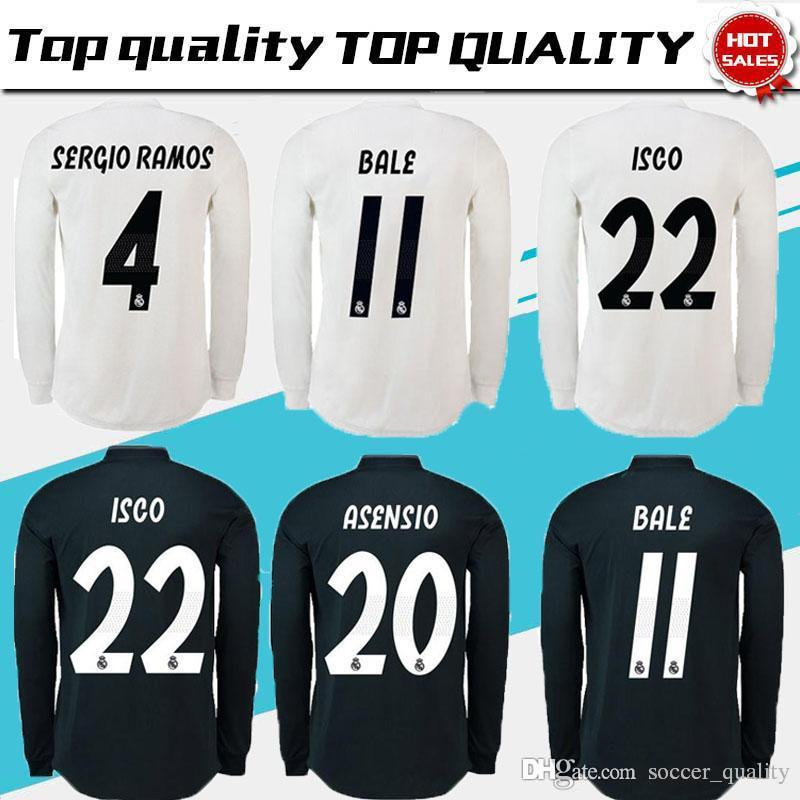 5441da28919 2019 Real Madrid Long Sleeve Soccer Jersey 18 19 EA Sports ASENSIO MODRIC  BALE SERGIO RAMOS ISCO MARCELO Galaxy Thailand Champions Football Shirt  From ...