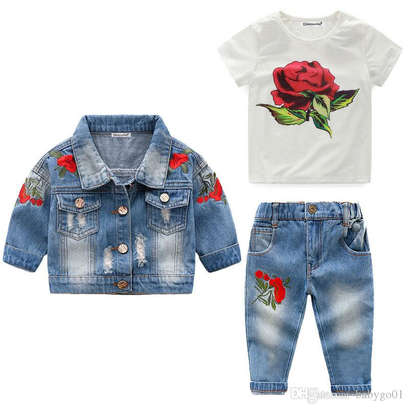 High Quality 2019 Girls Clothes Sets Autumn Winter Denim Girls Outfit Suits Costume For Kids Clothes 3Pcs Children Clothing Sets