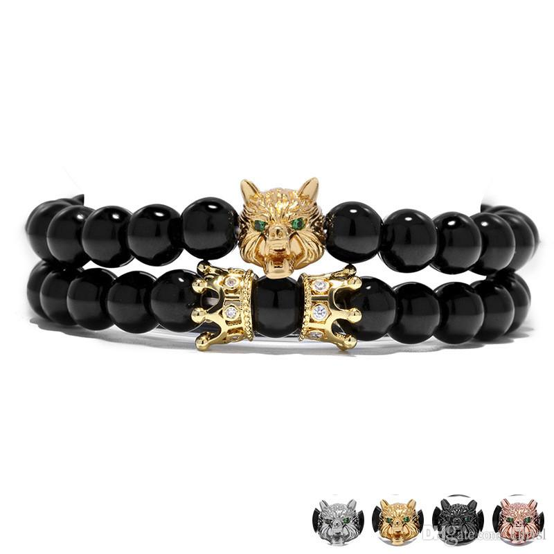 Hot Micro drill CZ Crown 8MM Natural Graphic Agate Copper-plated Beads Bracelets