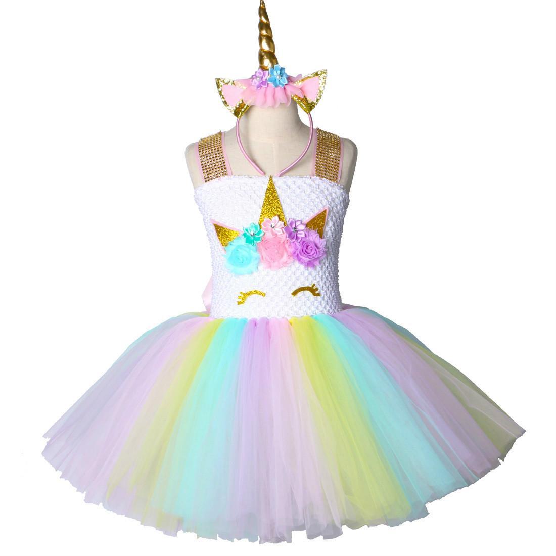 eae00dd4e Children Girls Unicorn Tutu Dress Rainbow Princess Kids Birthday ...