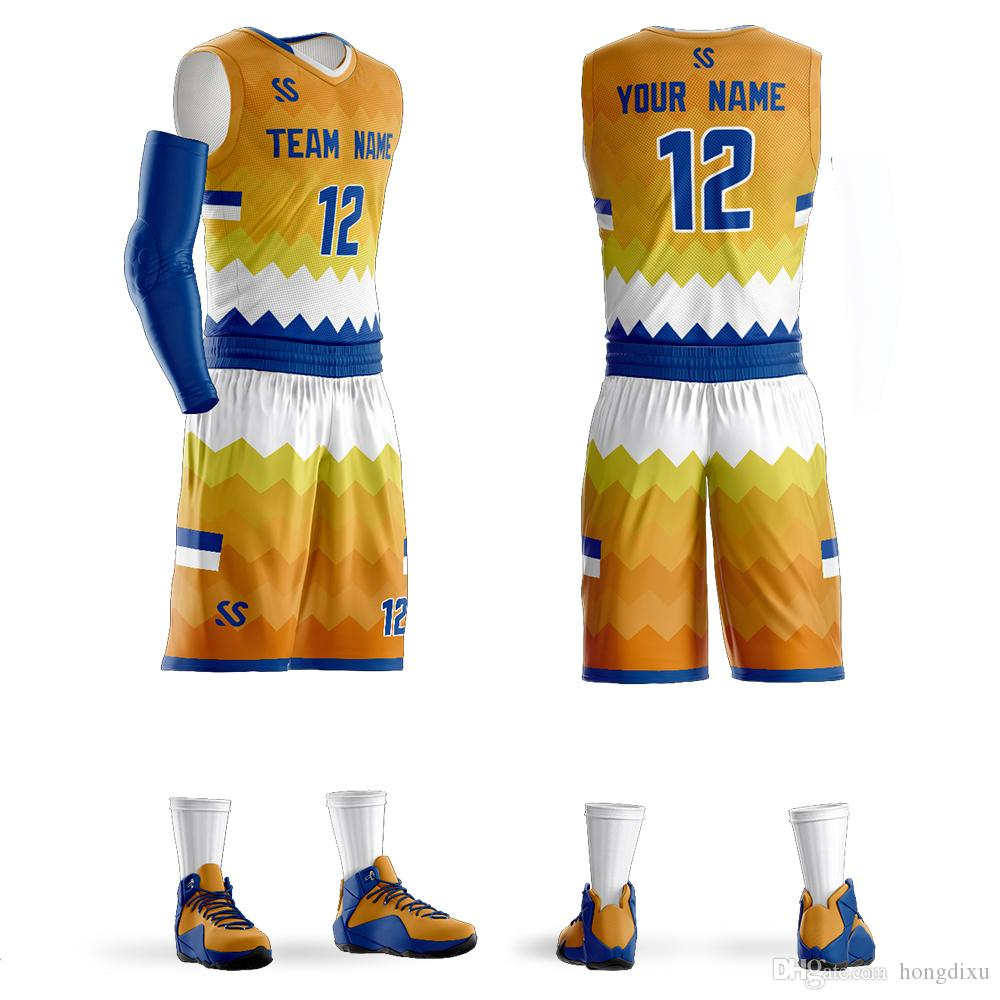 new arrival 3b8e4 c1ea0 2018 New Style Basketball Uniform Suit Student Group Adult Training Suit  Jersey Custom Breathable Print Vest Shorts Can Be Customized