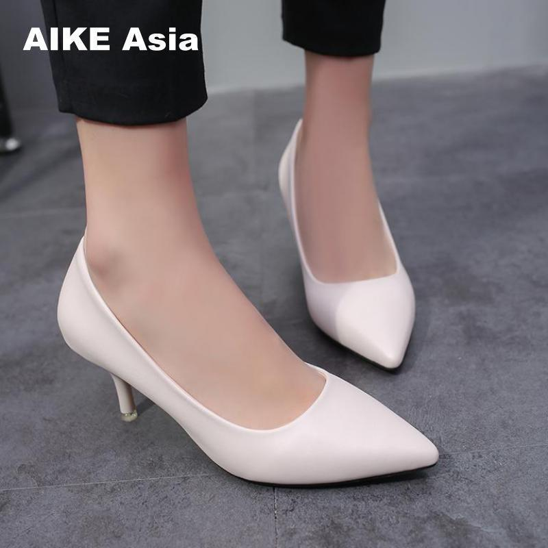 5a5fbac538b3 Designer Dress Shoes 2019 Women Pumps Fashion Sexy Pointed Toe Thin High  Heels Woman Nude Women S High Heeled Single Black  a 1 2 Mens Leather Boots  Mens ...