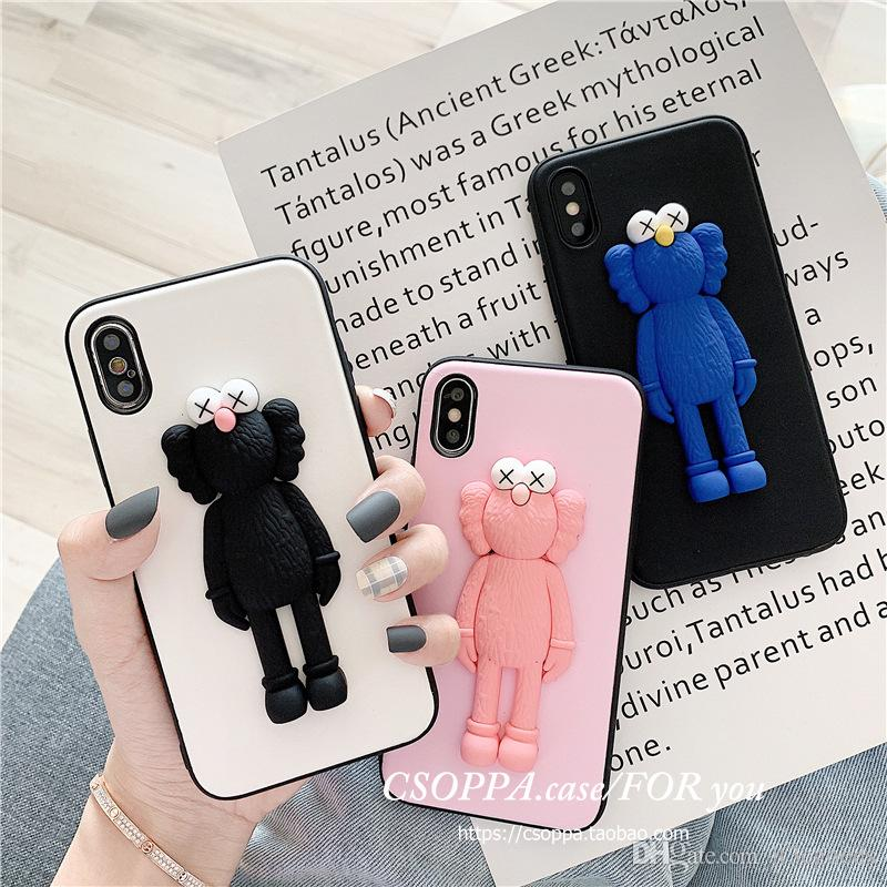 3D Solid Cute X Kaws Toy Phone Case For iPhone X XS Max XR Plus Cartoon Soft Silicone Couple Phone Cover 6 colors