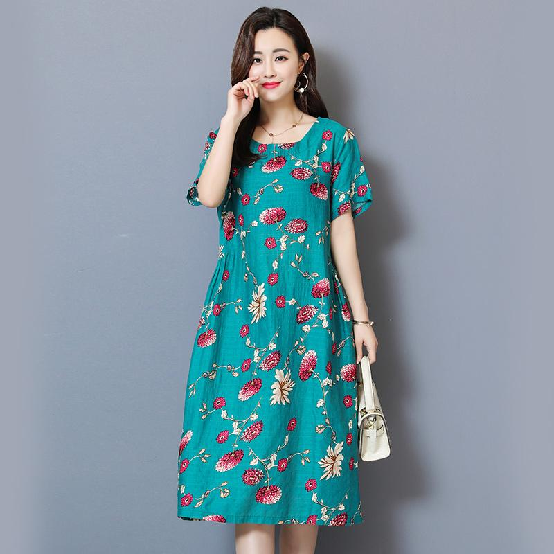 b4617348b9f Women Dress 2019 Middle Age Womens Summer Wear Vintage Dress Round Neck  Short Sleeve 5xl Large Size Printed Slim Dresses Strapless Dresses Chiffon  Dress ...