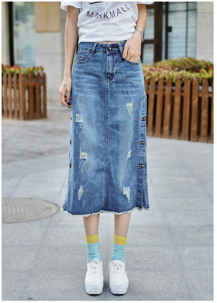 1023fd26d75 2019 New Plus Size Breasted Relaxed Casual Denim Jeans Skirts Long Maxi  Female Spring Summer For Womens Skirt Faldas Mujer 2016 From Xiatian7
