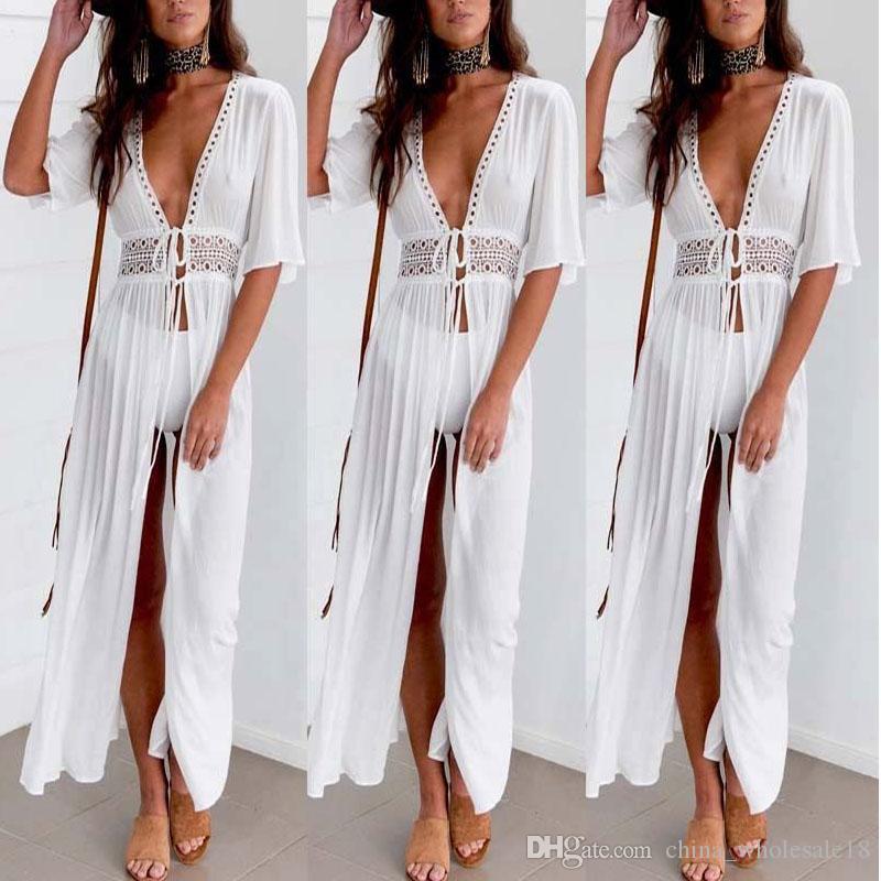 21f1b335a3196 2019 Sexy Ladies Women Solid White Bikini Cover Up Beach Dress Swimwear  Chiffon Beachwear Bathing Suit Summer Holiday Kimono Cardigan From  China_wholesale18 ...