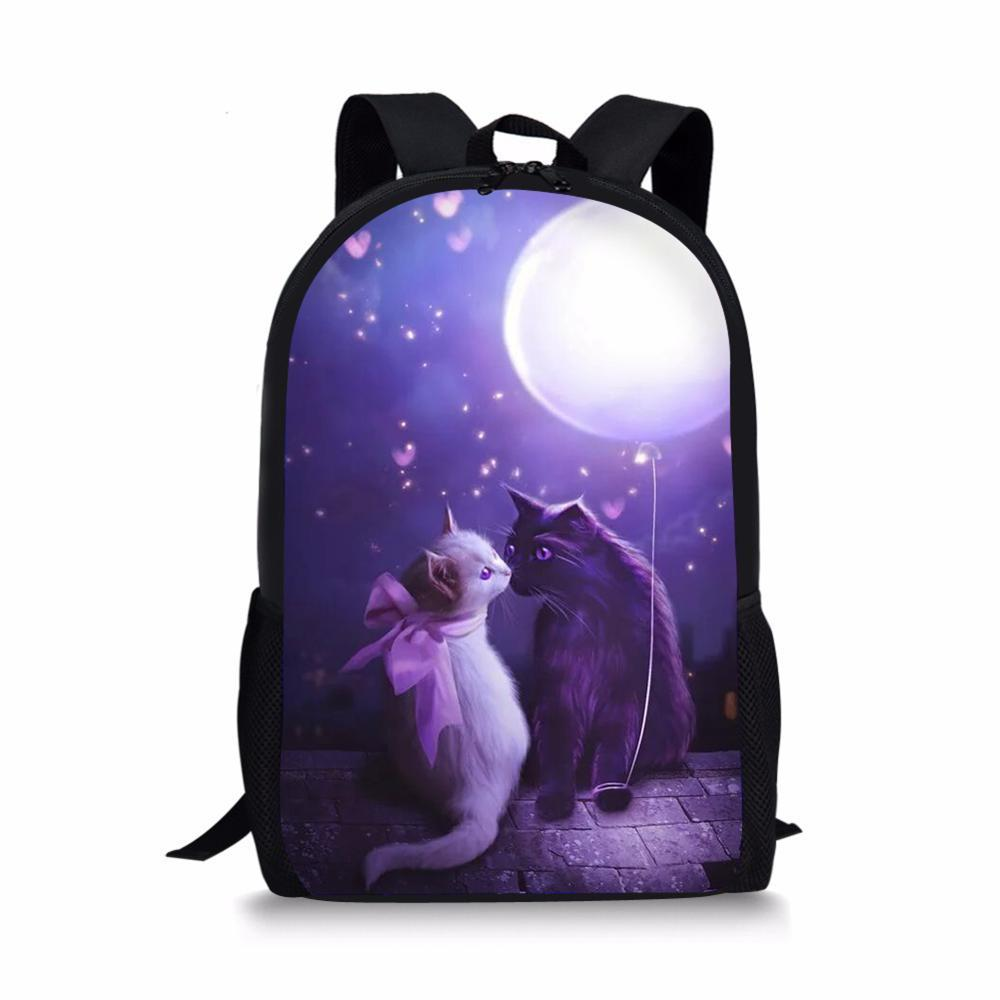 HaoYun Fashion Children's School Backpack Fantasy Cats Design Pattern Kids School Book Bags Kawaii Animal Girls Bags