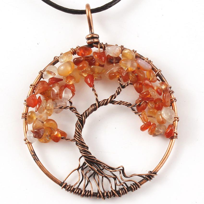 Kraft-beads Copper Wire Wrap Tree of Life Pendant Carnelian Necklace with Black Rope Chain Jewelry