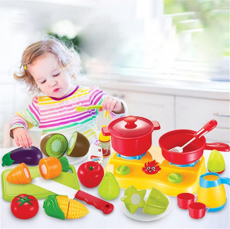 Children's Music Simulated Vegetables And Fruits Cut Toy Set Fruit Cut Stove Kitchen Play House Chess Toy Set