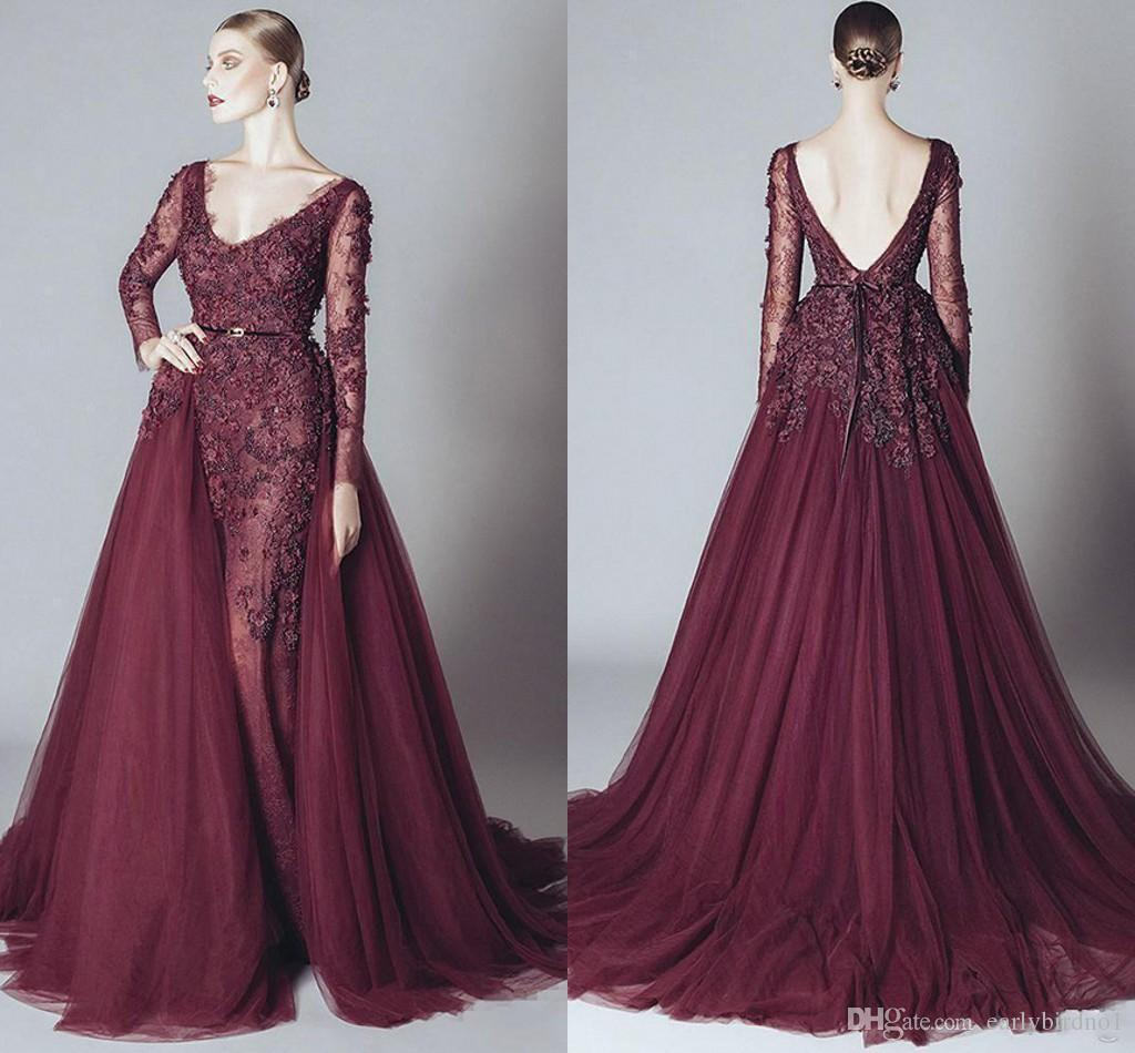 2019 Vintage Mermaid Prom Evening Dress Maroon Lace Appliqued Long Sleeve Datachable Train V Neck Formal Party Pageant Dresses Custom Made
