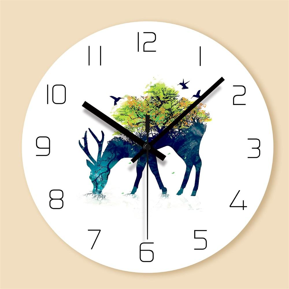 . Deers Decorative Wall Clocks PVC Round Clock for Kitchen Silent Quartz Elk  Animal Hanging Clock Modern Design Home Decor Gift