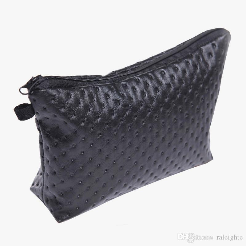 Nice Black Dot 2D Printing Leather Cosmetic Bags Travel Organizer Nice Fashion New Pencil Case Women Makeup Bag