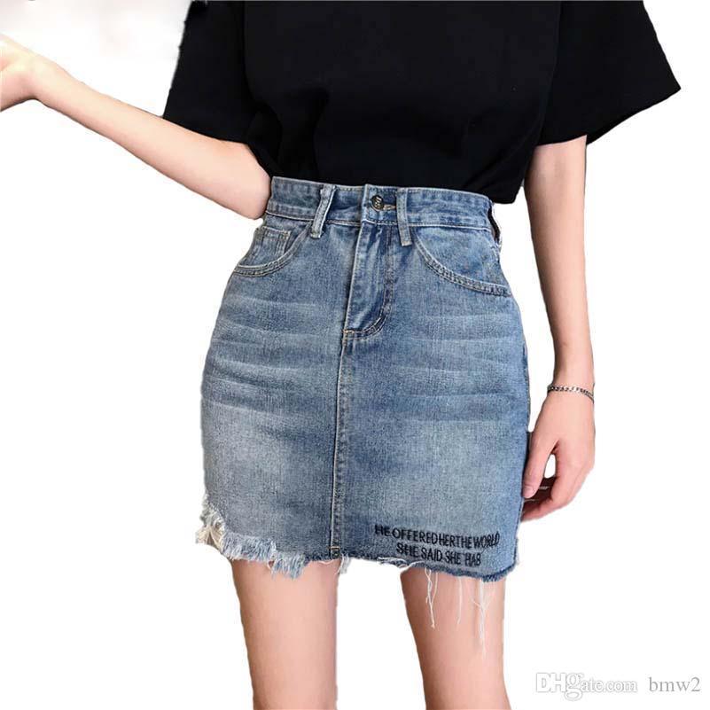 47da6dbac5 2019 Summer Casual Pencil Jeans Skirt Women High Waist Jupe Irregular Denim  Skirts Embroidery Female Mini Saia Faldas Online with  35.93 Piece on  Bmw2 s ...