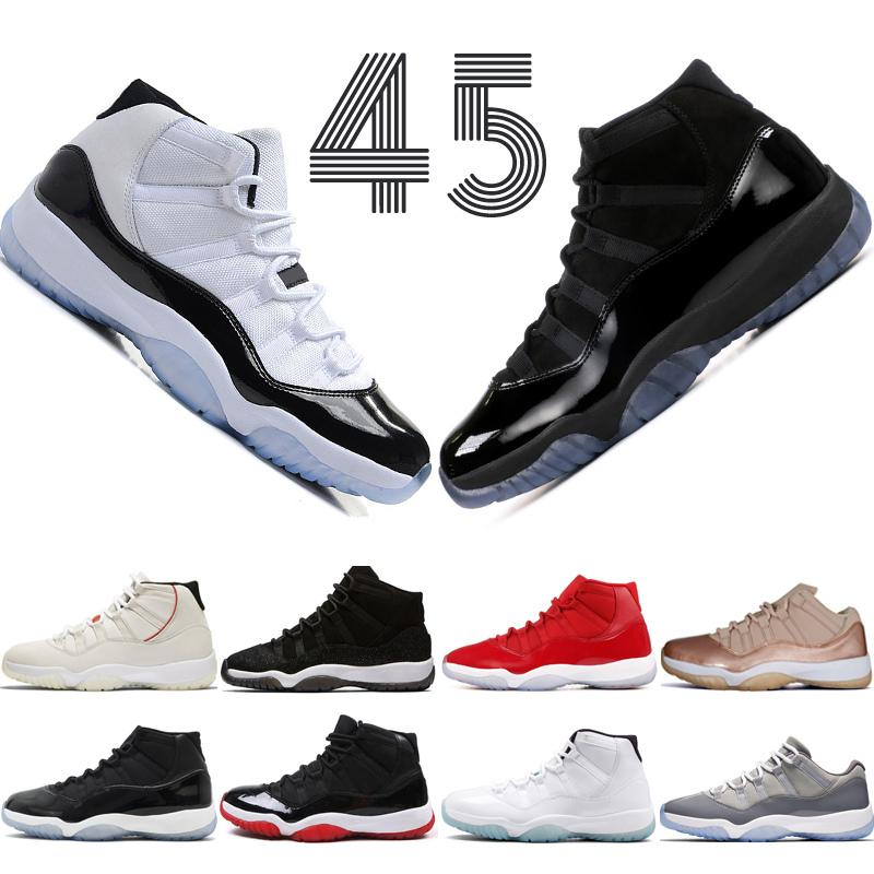a1366af6aa4da3 Acheter 2019 Platinum Tint Concord 45 11 11s Casquette Et Robe Hommes  Chaussures De Basketball Prom Night Gym Rouge Bred Barons Space Jam Baskets  De Sport ...