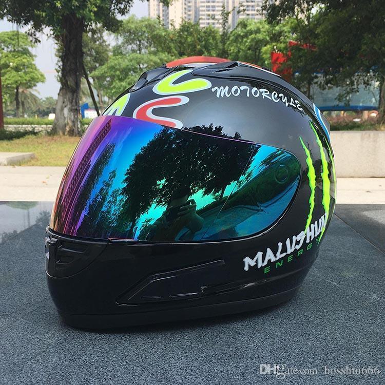 e32d43b66f466 Compre Marca Malushun A2 Capacete Da Motocicleta Valentino Rossi Capacete  De Corrida De Kart Capacete De Cara Cheia Homens Motociclistas Capacete DOT  ...