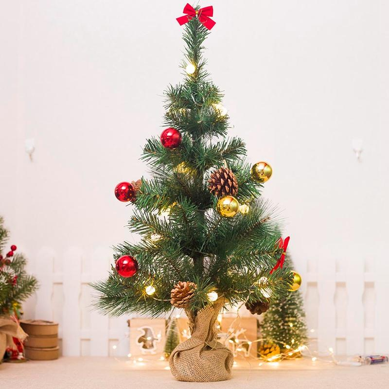 65cm Mini Christmas Tree Decoration With Small Pine Lights Festival Artificial Trees Christmas Decorations For Home Xmas Gift