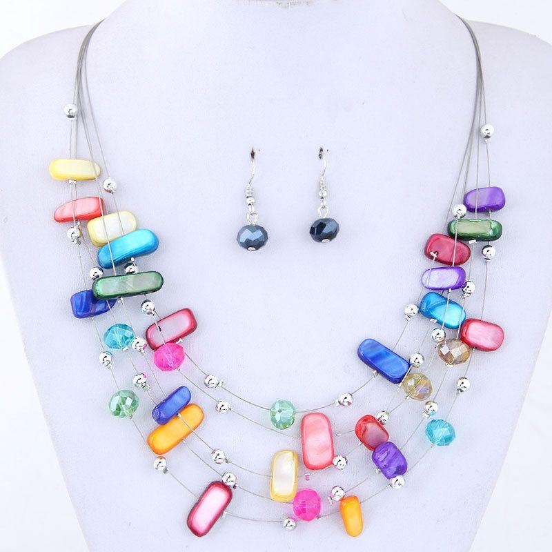 3124a8b93a63fc Acquista New Europe Jewelry Set Perline Con Cristalli Colorati Donna Strati  Collana Con Orecchini Pendenti Set Da Donna S127 A $3.53 Dal Jewelryvision  ...