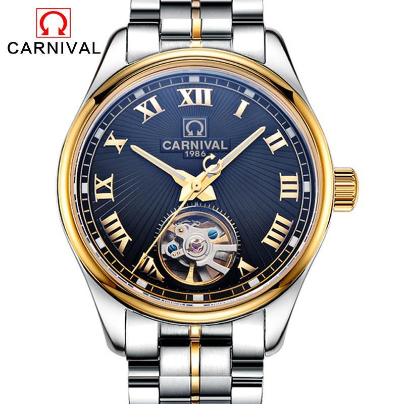 bd99428e9ae Compre Relógio De Carnaval Automático Homens Moda Skeleton Tourbillon  Masculino Pulseira De Couro Top Marca Homens Relogio Masculino Relógio  Mecânico De ...