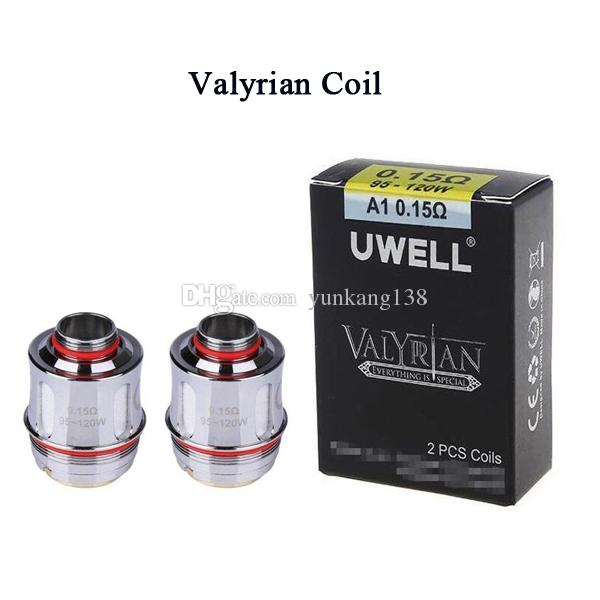 Authentic Uwell Valyrian Tank Coil atomizer replacement coils FOR uwell  valyrian sub ohm Tank 0 15OHM 95W TO 150W BOX MOD