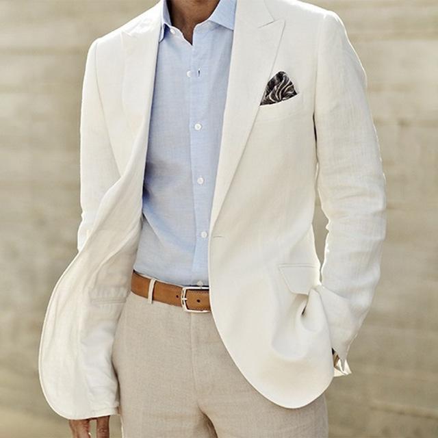 Acquista Abito Da Uomo In Lino Bianco Su Misura Giacca E Pantaloni Di Lino  Bianco Abito Da Uomo Su Smoking Da Sposa Uomo Vestito Da Sposo Su Misura A  ... 6a925c212c8