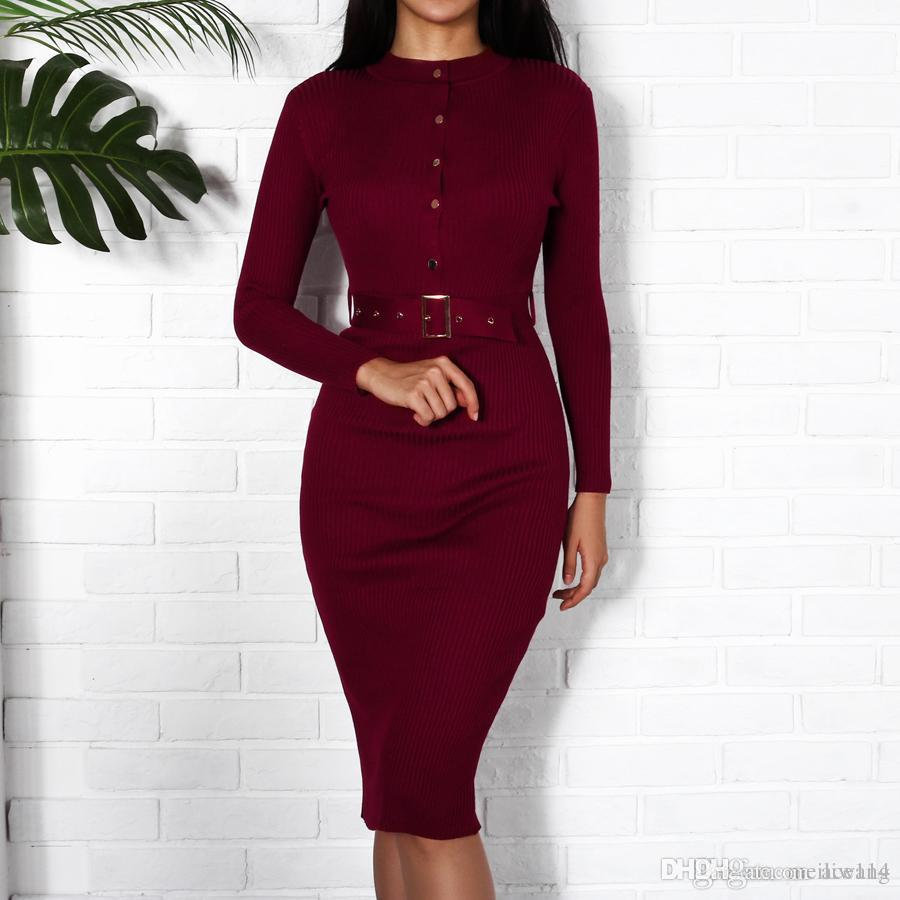 36ab31190a58 Women Midi Sweater Dress Autumn Winter New Fashion Button Long Sleeve  Pencil Dress Knitted Women Bodycon Dress Black Red Party Dresses Homecoming  Dresses ...