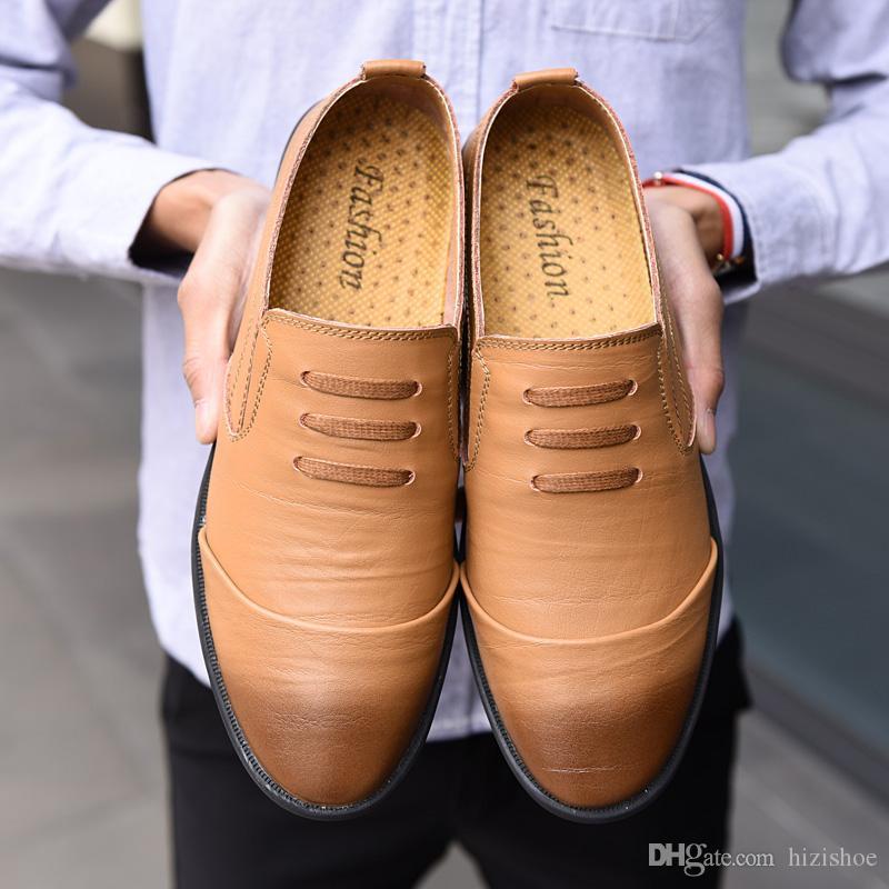 997f3fa6346f7 Compre Estilo Retro Para Hombre Zapatos De Vestir De Cuero Genuino Negro  Marrón Caqui Piel De Vaca Superior Suela De Goma Hombre Casual Pisos  Mocasines De ...