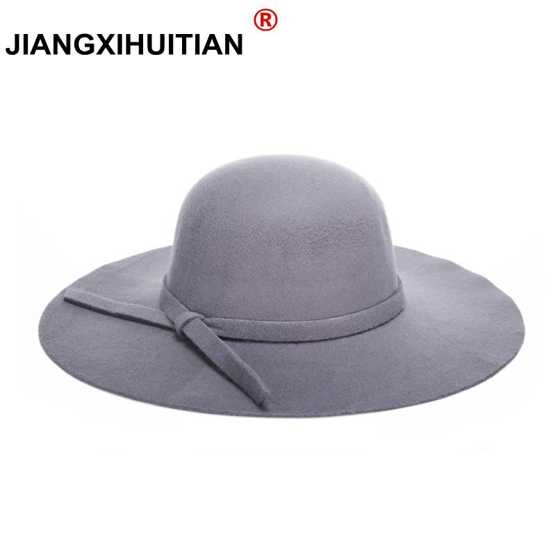 8aa50077bc1 2019 2017 Winter Hats For Women Soft Vintage Wide Brim Wool Felt Bowler  Fedora Hat Floppy Cloche Women S Large Hat Cap From Jingchengyan