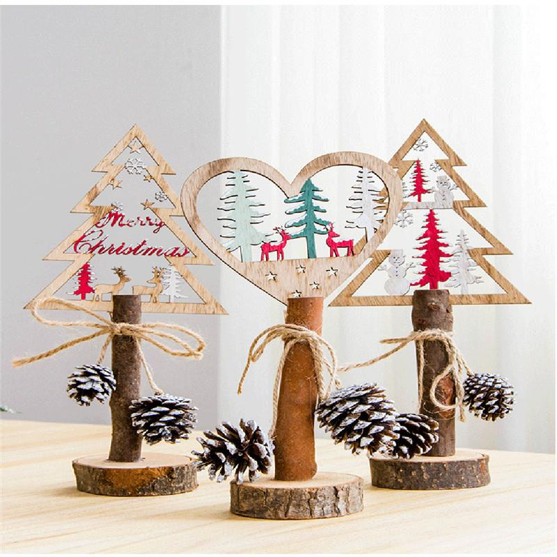 Fashion Home Gifts Creative Painted Christmas Tree Wooden Tabletop Decoration Ozdoby Choinkowe Albero Natale Xmas Trees 2019