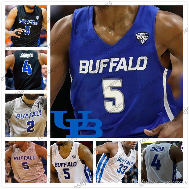 new products 20aef 442f9 Custom NCAA Buffalo Bulls 2019 College Basketball Blue Gray Black White Any  Name Number 5 CJ Massinburg 33 Nick Perkins 4 Davonta Jerseys