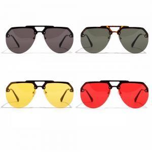 c162be8ed62 Oversized Half Frame Frog Sunglasses Women Vintage Brand Big Round Eyewear  Classic Unisex Travel Beach Retro Eyeglasses LJJT316 Best Sunglasses For Men  ...