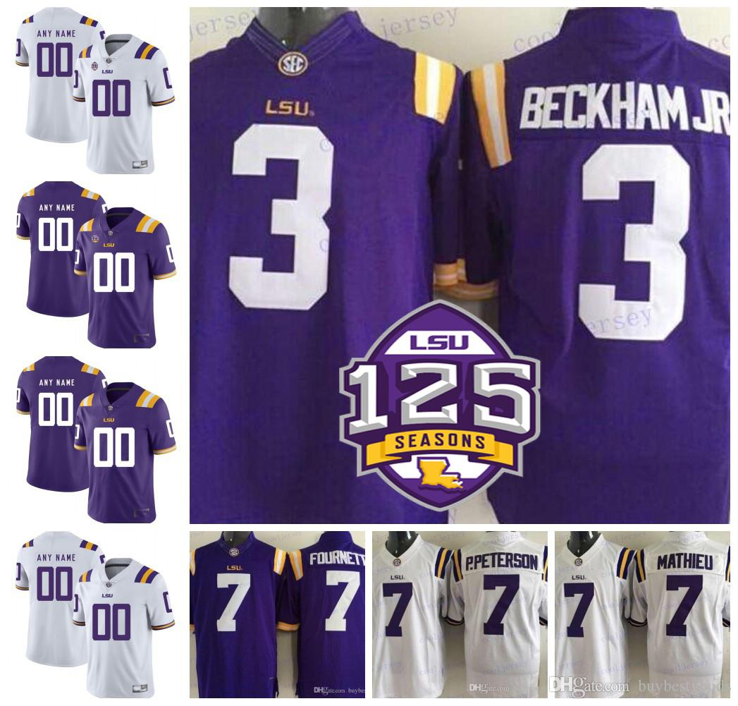 2019 NCAA LSU Tigers 3 Odell Beckham Jr. 7 Leonard Fournette Tyrann Mathieu  Patrick Peterson 5 Derrius Guice 125th College Football Jerseys From ... 121a5a9d2