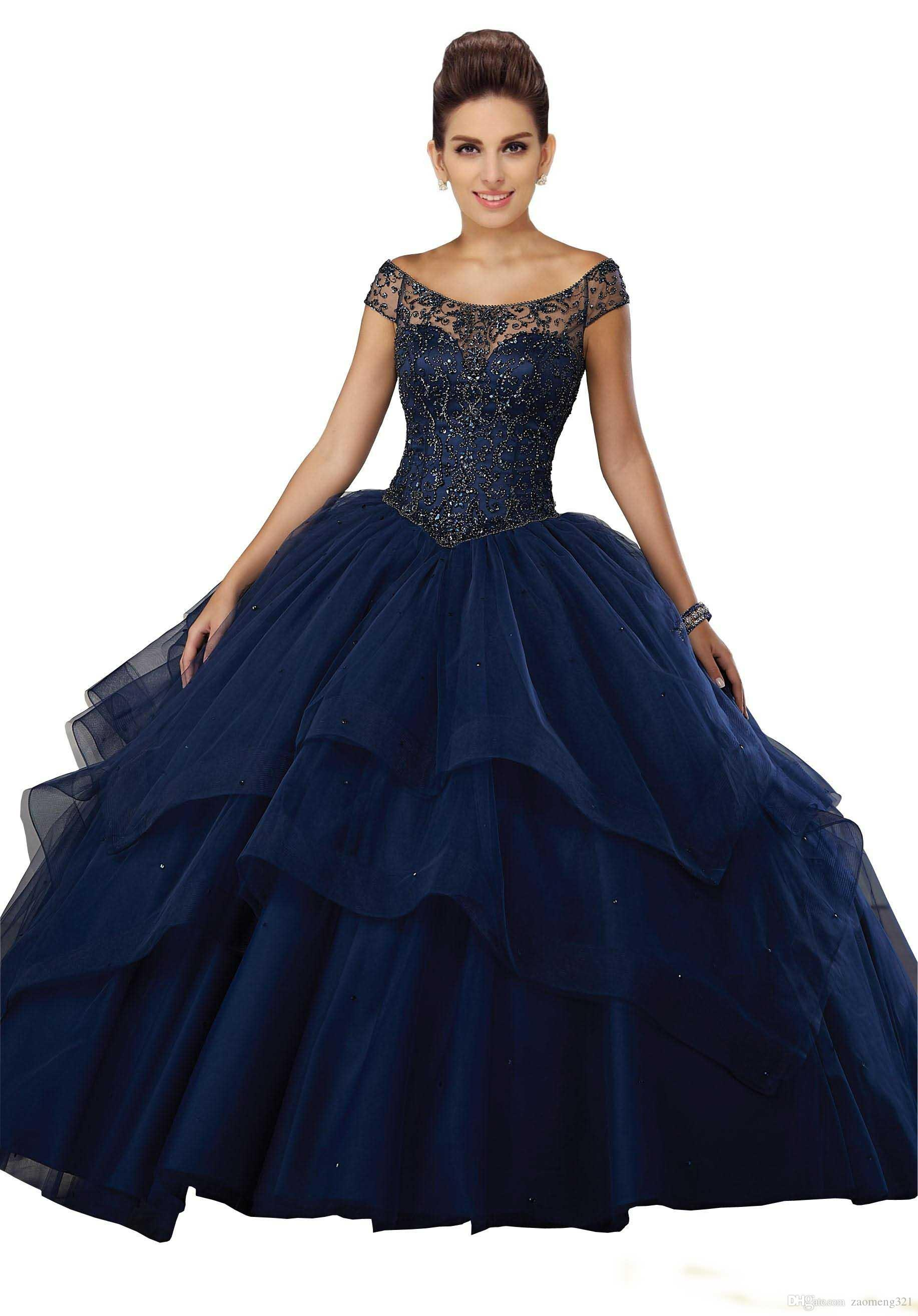 Stunning Navy Blue Sweet 16 Ball Gown Dresses Quinceanera Prom Dress Jewel Sheer Neck With Sleeves Bling Beaded Tulle Ruched Layers Party