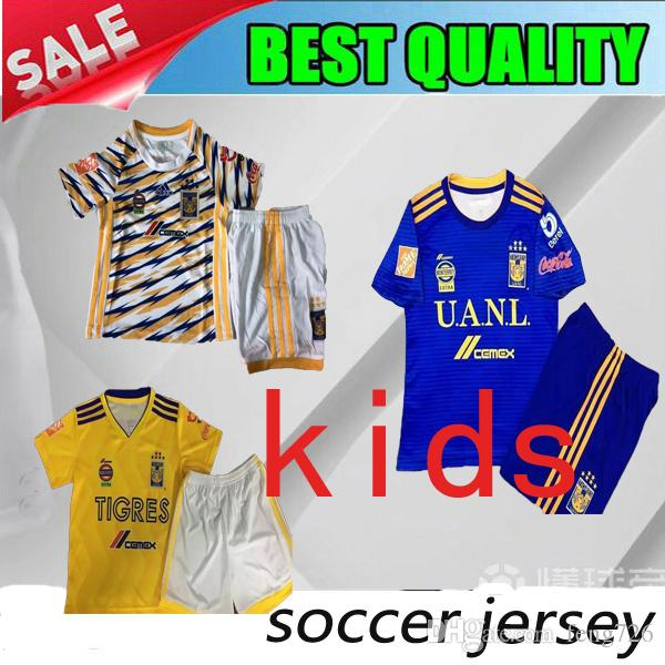 2019 2018 2019 Tigres UANL Third Kids Kit Soccer Jerseys 18 19 Tigres UANL  HOME Child GIGNAC Vargas H. Ayala SOSA Uniform Football Shirts From  Feng726 407c0337f