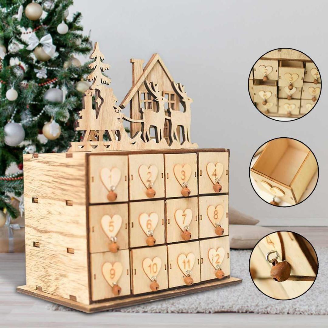 2019 24 Doors Wooden Advent Calendar New Year Storage Jewelry Box