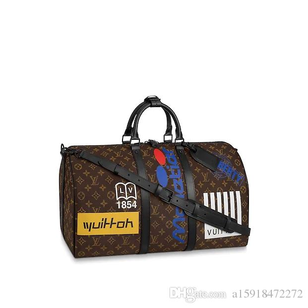 DHL Free Shipping New Leather 50CM high quality luxury Men Womens M44642 travel bag male Luggage bags M44643 Duffel Bags Designer men's bag