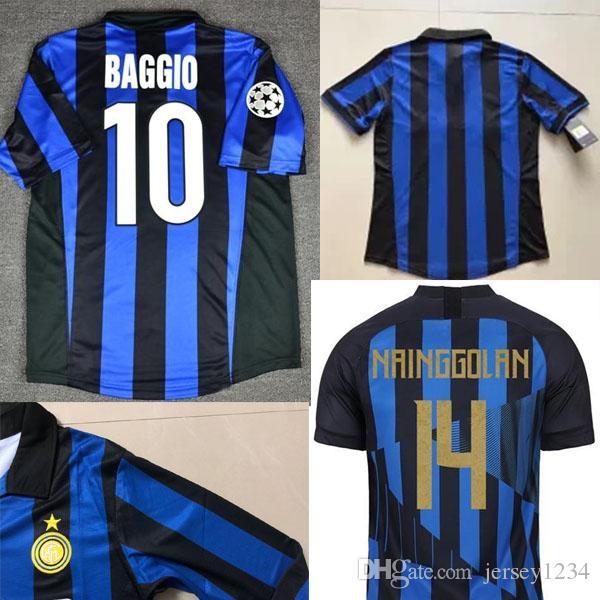brand new 0fdc7 84e56 98 99 Inter J.Zanetti Djorkaeff Ronaldo Baggio Zamorano Simeone Pirlo Retro  20th Soccer Jerseys Milan MAGLIA Calcio Maillot Vintage Camiseta