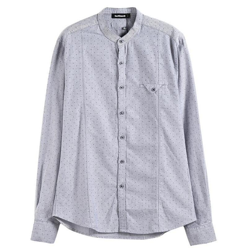a2769eb08c 2019 2019 Brand Spring High Quality Shirt Men Solid Dot Print Long Sleeve  Stand Collar Shirt Men Fashion Streetwear From Jikai04