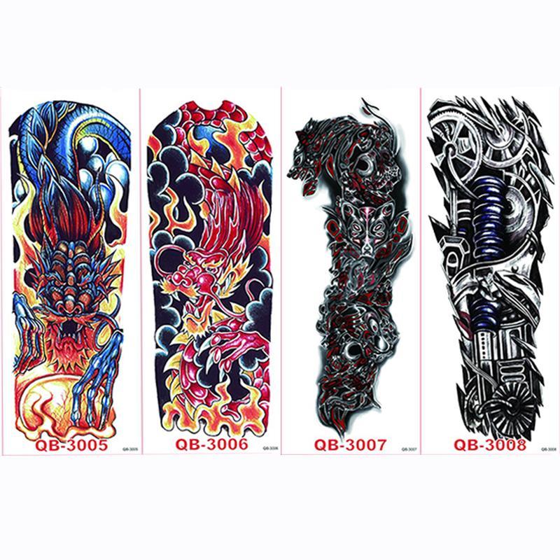 4 pezzi / set Grandi adesivi tatuaggi temporanei Tatuaggi completi tatuaggi a maniche lunghe tatuaggi Black Fire Death Skull Rose