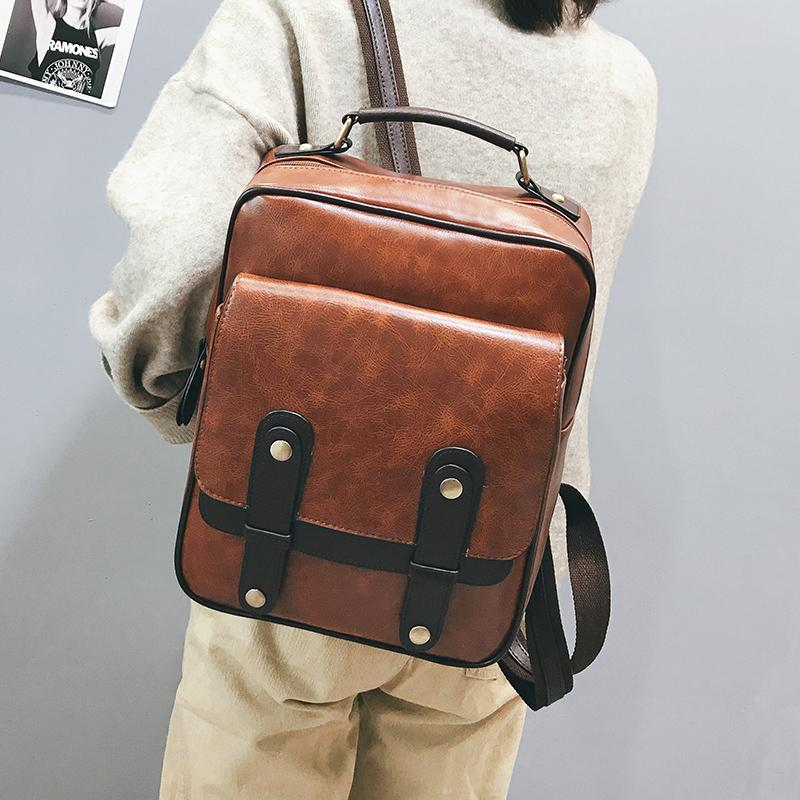 bafa3e55a02 Men and Women Backpack Leather Vintage Functional Travel Bags Large  Capacity Fashion Pu School Bags Backpack for Teenagers Gilr