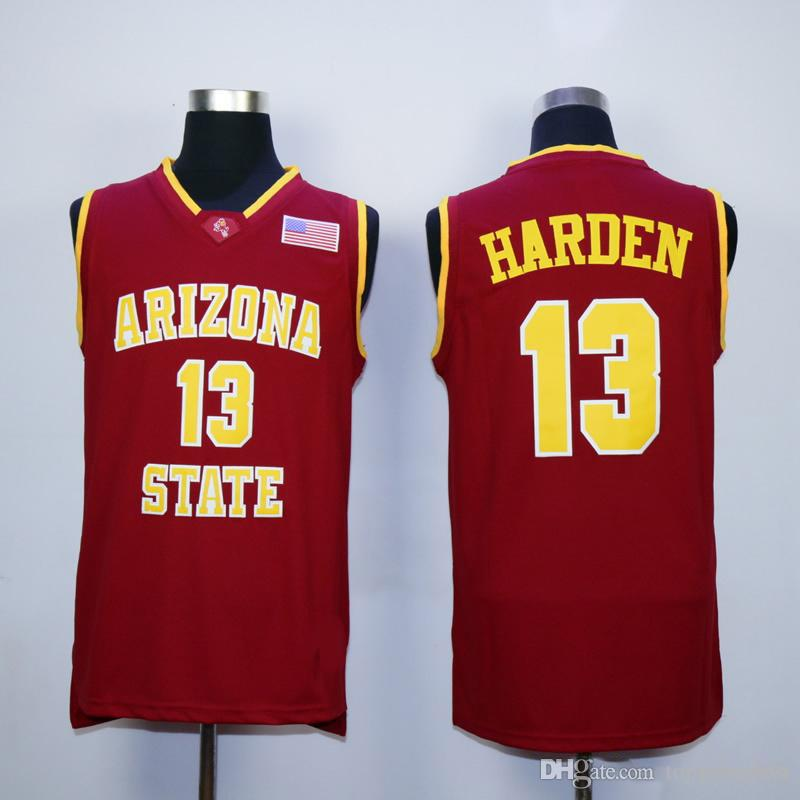 online store a4d71 eef89 NCAA 13 James Harden College Jerseys Arizona State Sun Devils Jersey Men  Basketball Team Red Away Yellow White For Sport Fans Free Shipping