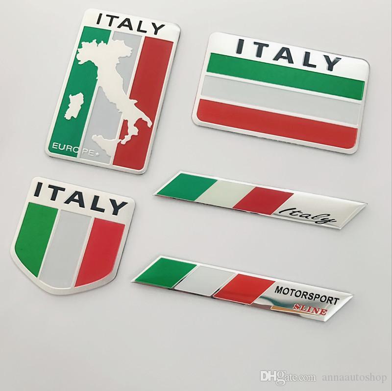 "2X 3D Aluminum Alloy ITALY Flag Metal Emblem Sticker Decal(1.75/""x 1.75/"")"