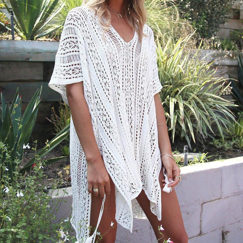 26c036241a 2018 Knitted Pareo Beach 2018 Bathing Suit Cover Ups Hollow Sexy Swimsuit  Beach Tunic Plage Beachwear Tunics From Winwin2013