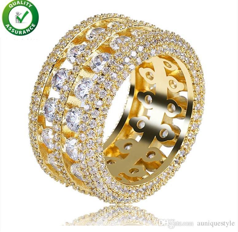 77c719a6115f Compre Anillos De Oro Para Hombre Diseñador De Lujo Joyería De Hip Hop  Helado Hacia Fuera Anillo De Diamante Para Los Hombres Compromiso Boda Amor  Anillo De ...