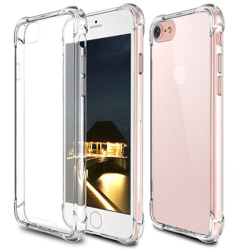 Transparent Phone Case à prova de choque Acrílico Bumper macio TPU frame do PC Hard Cases Capa para iPhone 11 Pro MAX XR 7 Samsung S9 Note9