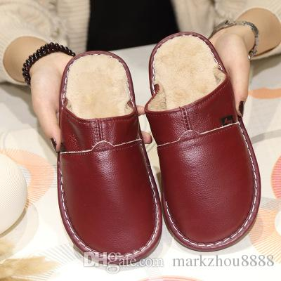b293a26c624 Plus Size 35 44 Women Men Genuine Leather Warm Winter Home Slippers Non Slip  Thick Warm House Shoes Cotton Slippers Wedges Shoes Leather Boots From ...