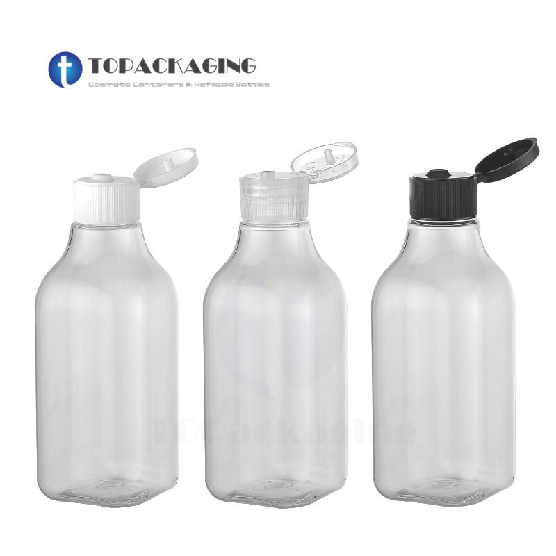 173decfd2491 30PCS*200ML Flip Screw Cap Bottle Clear Plastic Cosmetic Container Square  Makeup Essential Oil Refillable Empty Shampoo Packing